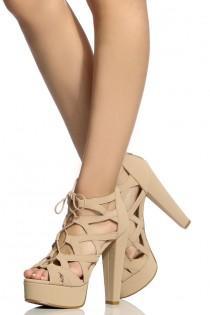 wedding photo - Nude Faux Nubuck Lace Up Cut Out Platform Heels @ Cicihot Heel Shoes Online Store Sales:Stiletto Heel Shoes,High Heel Pumps,Womens High Heel Shoes,Prom Shoes,Summer Shoes,Spring Shoes,Spool Heel,Womens Dress Shoes