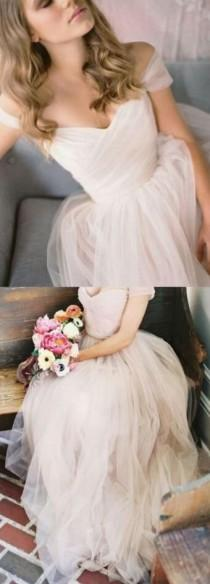 wedding photo - Cap Sleeves Long Tulle Wedding Dress ,A Line Bridal Gown ,Custom Made Evening Dress From Lovingdress