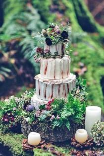 wedding photo - 30 Must-See Rustic Woodland Themed Wedding Cakes