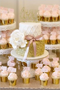 wedding photo - A Pink And Gold Reception You Wont Believe