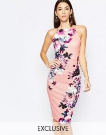 wedding photo - Lipsy High Neck Pencil Dress In Elegant Blossom Floral At Asos.com