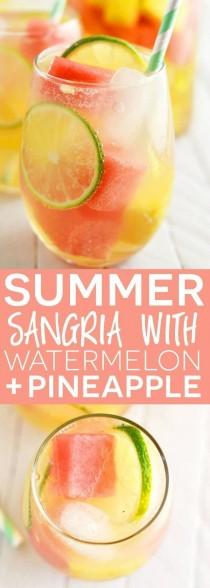wedding photo - Summer Sangria With Watermelon And Pineapple