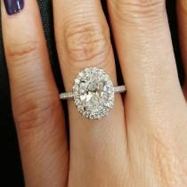 wedding photo - Details About 2.00 Ct Natural Oval Halo Pave Diamond Engagement Ring - GIA Certified