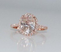 wedding photo - 3.5ct Oval Champagne Peach Sapphire Diamond Ring 14k Rose Gold Engagement Ring