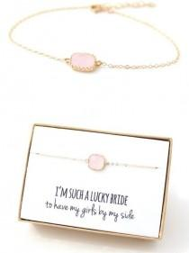 wedding photo - Pink Stone Bracelet Gift For Your Bridesmaids
