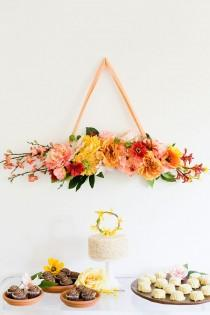 wedding photo - DIY Floral Bough And Cake Topper