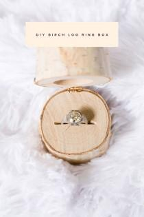 wedding photo - DIY Birch Log Ring Box