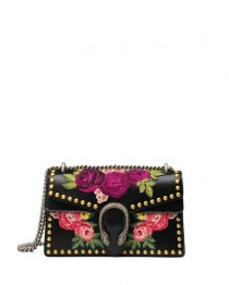 wedding photo - Dionysus Small Embroidered Shoulder Bag, Black/Multi