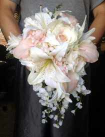 wedding photo - Cascading Bride's Bouquet With Blush Pink Calla Lilies And Hydrangeas, Creamy Roses, Wisteria And Tiger Lilies