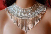 wedding photo - Very Chic Chaquira Handbeaded Necklace, Choker, White And Silver Color, Huichol