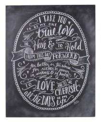wedding photo - 'One True Love' Chalk Wall Sign