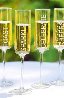 wedding photo - 'Celebrate!' Contemporary Champagne Flutes