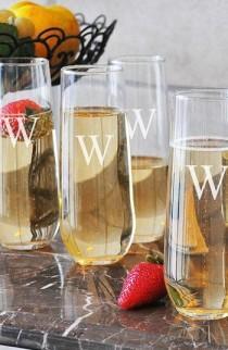 wedding photo - Monogram Stemless Champagne Flutes