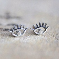 wedding photo - Eye Earrings, Silver Studs, Evil Eye, Everyday Jewelry, For Sensitive Skin, Christmas, Jewellery, Birthday Gift For Her, Stainless Steel