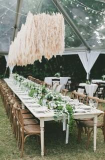 wedding photo - An Amazing Pampas Grass Chandelier Installation