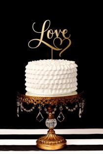 wedding photo - Love Cake Topper With Heart Flourish