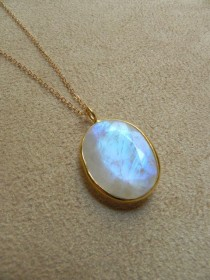 wedding photo - Large Faceted Rainbow Moonstone And Gold Filled Pendant Necklace