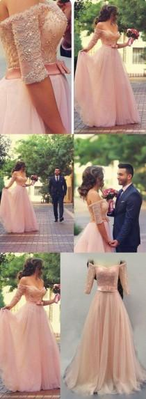 wedding photo - Off Shoulder Half Sleeves Pink Long Party Prom Dresses Sweetheart Sash Bow Beads Pearls Long Evening Dresses