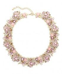 wedding photo - Olivia Welles Jewelry Rose Crystal & Gold Verena Statement Necklace