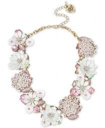 wedding photo - Betsey Johnson Gold-Tone Multi-Stone Flower Statement Necklace