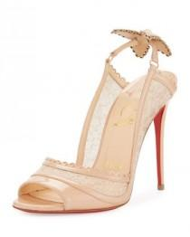 wedding photo - Hot Spring Butterfly 100mm Red Sole Pump, Doudou