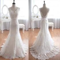 wedding photo - Popular Elegant V-Neck Long Mermaid White Lace Bridal Gown, Wedding Party Dresses , WD0045