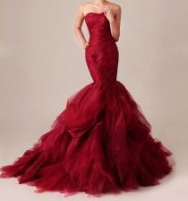 wedding photo - Custom Made Lace Organza Mermaid Wedding Dress Gossip Girl Inspired Dramatic Red Gown Vera Wang