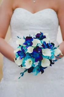 wedding photo - Molly's Bridal Bouquet With Turquoise Hydrangeas, Blue Violet Dendrobium Orchids, White Calla Lilies,Singapore,Galaxy