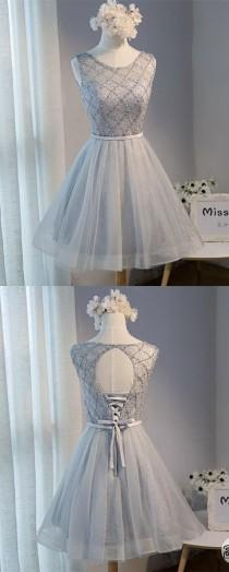 wedding photo - A-Line Round Neck Open Back Grey Tulle Short Homecoming Dress With Beading