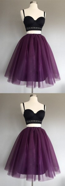 wedding photo - Two Piece A-Line Spaghetti Straps Grape Tulle Short Homecoming Dress