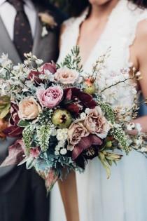 wedding photo - Trending-15 Gorgeous Burgundy And Blush Wedding Bouquet Ideas