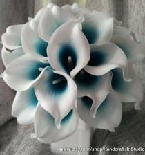 wedding photo - Bouquet De Lys Calla Fleurs 10 Tiges Oasis Turquoise Picasso Lys Calla Real Touch Bouquet De Mariée Fleurs Faux Pour Les Centres De Mariage