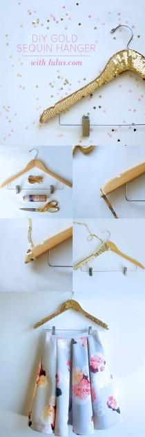wedding photo - DIY Gold Sequin Hanger