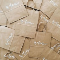 wedding photo - Custom Gift Bags, Wedding Welcome Bags, Wedding Favors, Personalized Gift Bags, Hand Lettered, Calligraphy, Kraft Bags