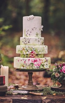 wedding photo - This Hand-painted Floral Cake That Practically Belongs In A Museum.