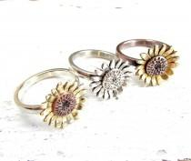 wedding photo - Sunflower Ring, Flower Ring, Mixed Metal, Boho Ring, Sterling Silver, Copper Ring with Brass