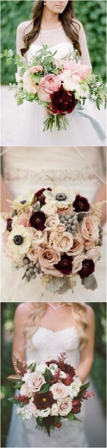 wedding photo - Trending-15 Gorgeous Burgundy And Blush Wedding Bouquet Ideas - Page 3 Of 3