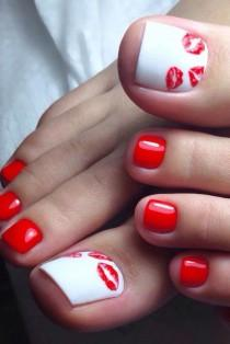 wedding photo - Red And White Nails