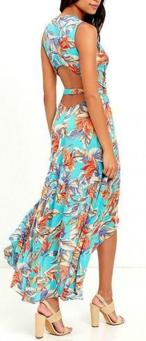 wedding photo - Something To Believe In Turquoise Floral Print Wrap Dress