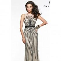 wedding photo - Champagne/Black Sequin Applique Gown by Faviana - Color Your Classy Wardrobe