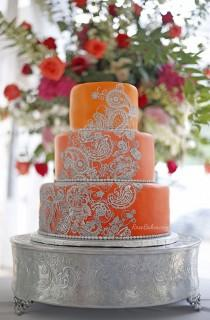 wedding photo - Orange & Silver Mehndi Henna Cake