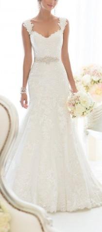 wedding photo - Elegant Off-Shoulder Crystal Lace Wedding Dress