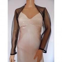 wedding photo - Black organza  full length sleeved bolero/shrug/jacket  with satin edging - Hand-made Beautiful Dresses