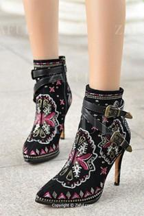 wedding photo - Embroidery Buckles Pointed Toe High Heel Boots