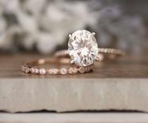wedding photo - Rose Gold Engagement Ring, Moissanite Oval 10x8mm And Diamond Bridal Ring Set, Forever Classic 3.00cts Moissanite Engagement Ring