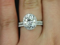 wedding photo - Federella 10x8mm 14kt White Gold Oval F1- Moissanite And Diamond Halo Wedding Set (Other Metals And Stone Options Available)