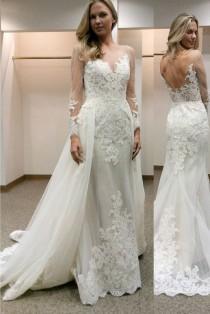wedding photo - Lace Long Sleeves Sheath Wedding Dresses With Detachable Train,Wedding Gown,SW11