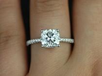 wedding photo - Rosados Box Blanche 7.5mm 14kt White Gold F1- Moissanite Cushion And Diamond FULL Eternity Engagement Ring