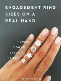 wedding photo - A Side-by-Side Carat Comparison Of Different Engagement Ring Sizes