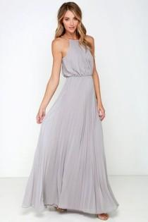 wedding photo - Bariano Melissa Light Grey Maxi Dress